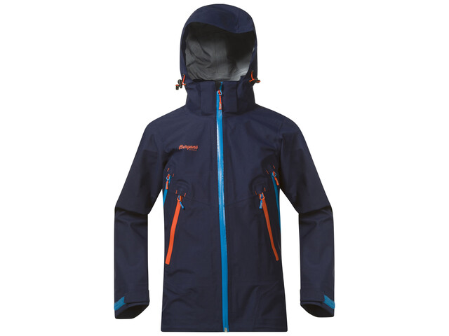 Bergans Youth Ervik Jacket Navy/Lt SeaBlue/Koi Orange